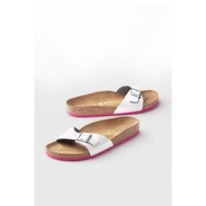 NWT Birkenstock Madrid white straps with pink sole